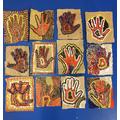 Aboriginal dot art hand painting
