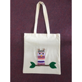 Owl weaving sewn onto tote bags