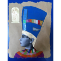 Mixed media Egyptian Pharaoh Self Portrait