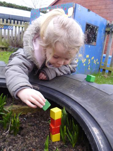 We used wooden blocks to measure the growth.