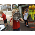 Then we used different things to make the bubbles