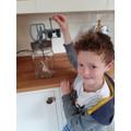 Luke used a butter churn to make butter.