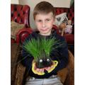 Tomas's grass head has very long hair!