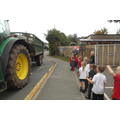 A tractor stopped by school to show us
