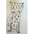Black crayon cats inspired by artist Laurel Burch