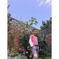 Luke's sunflower is taller than him!