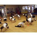 Doing the bear crawl to develop co-ordination
