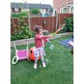Viktoria had fun experimenting with bubbles...