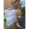 He enjoyed creating his bubble art picture...