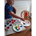 Bruce enjoyed mixing colours...
