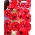 Y4 made poppies from recycled plastic drinks bottles