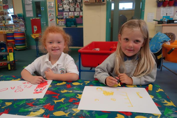 We experiment with mark making.