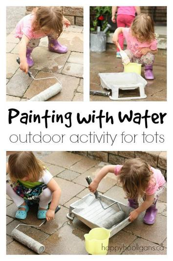 Water painting with large brushes and rollers