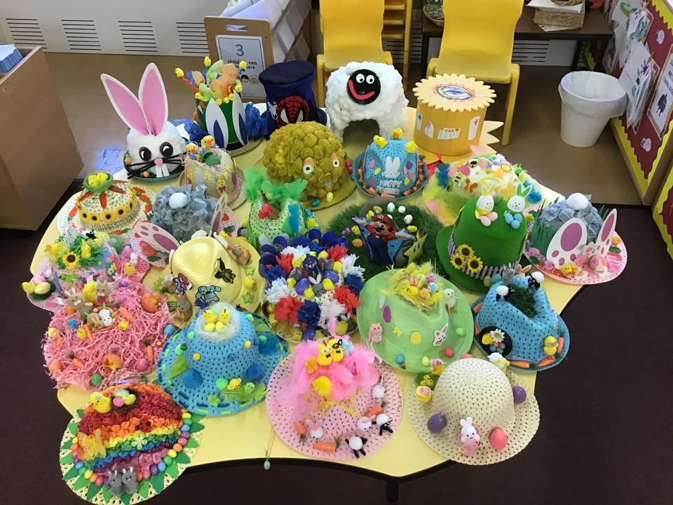 Our eggs-cellent hats are ready for our Easter Parade.