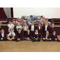 The School Council posing with the donations.