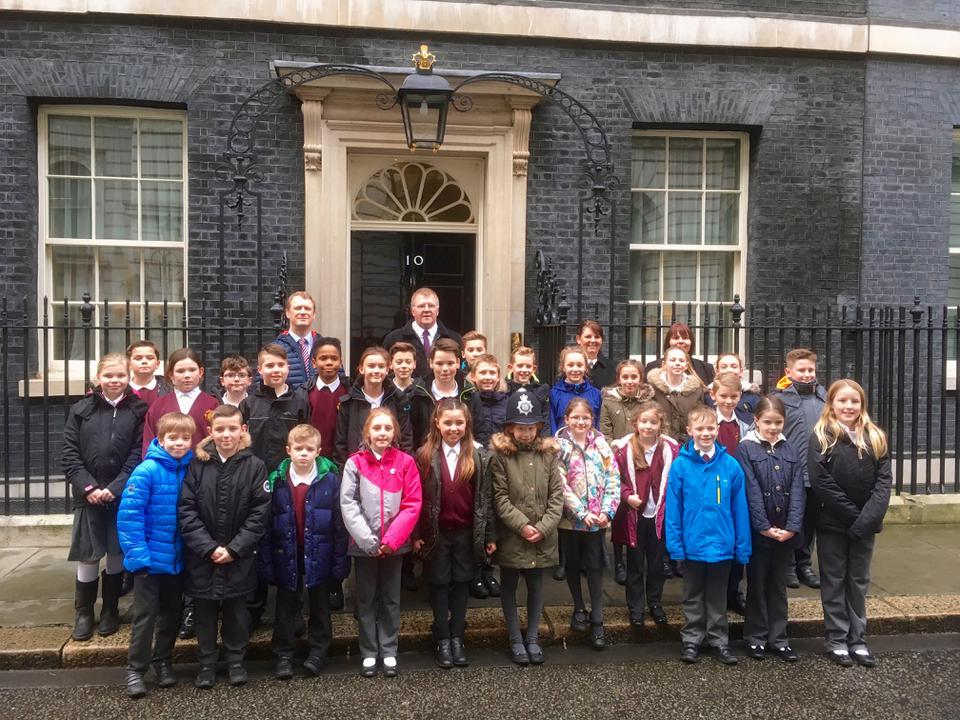 All of our children active in Pupil Voice outside Number 10 Downing Street.