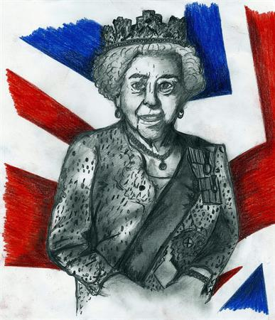 Queen Elizabeth II by James Stacey, ex pupil
