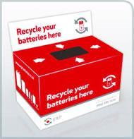 Our battery recycling box is located by the main office