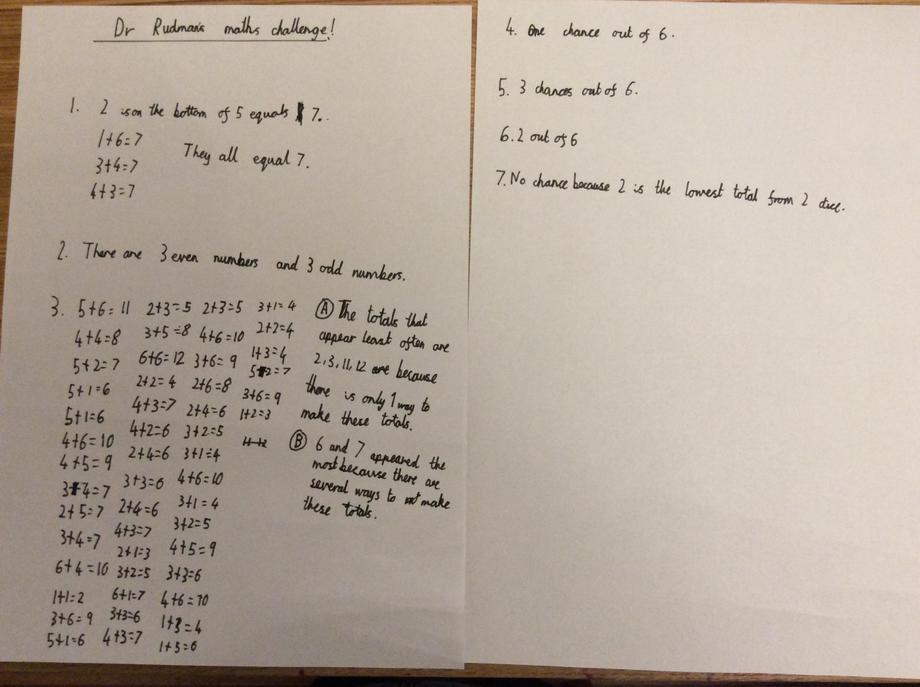 Charlie's amazing math's work!