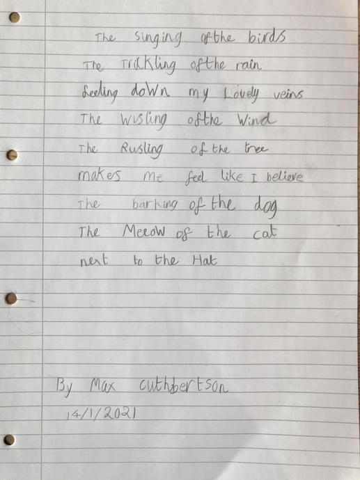 Max's amazing Sound Collector poem!