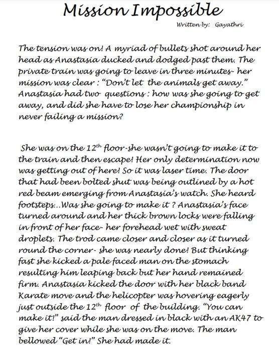 Gayathri's spy story part 1