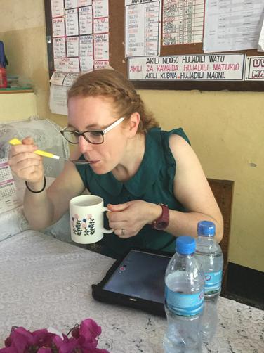 Mrs Allen enjoying delicious uji