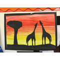Artwork inspired by sunsets over the savannah.