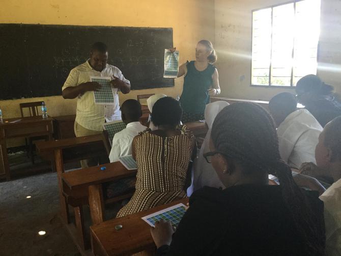 Mrs Allen teaching Maths