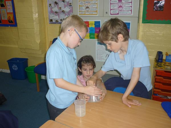 Being super scientists!