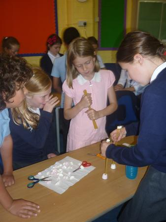Marshmallow towers (and a sticky mess!)