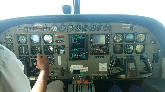 Our pilot at the controls