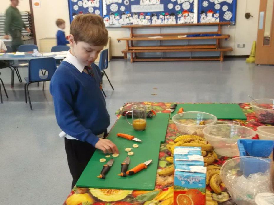 Hard at work preparing the fruit