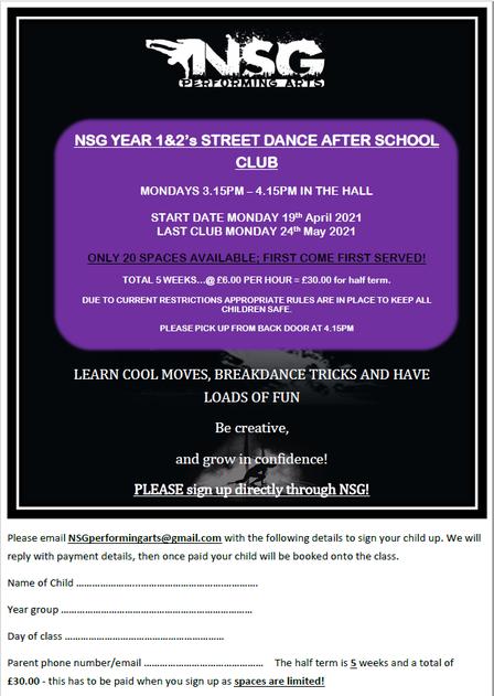 Streetdance Club Y1&2 Summer 2021