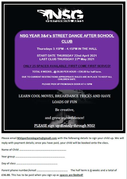 Streetdance Club Y3&4 Summer 2021