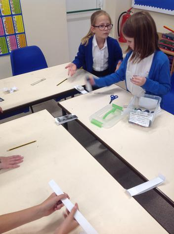 Firstly we worked out how to make materials stronger by building bridges.