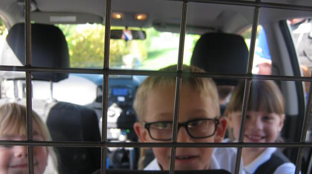 Looking into the caged section of the police car.