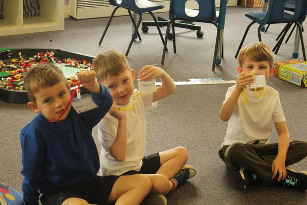 Years 1 and 2 with challenge lanyards