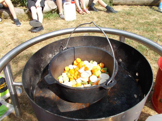 We carefully dropped everything into a cauldron.