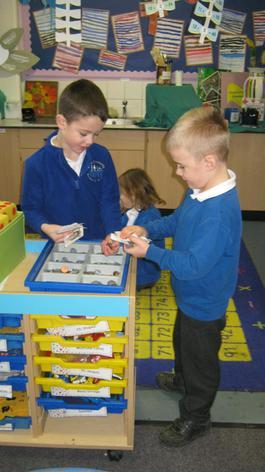 Children practising their maths.