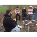 Mr Lenton showing us how he starts a fire
