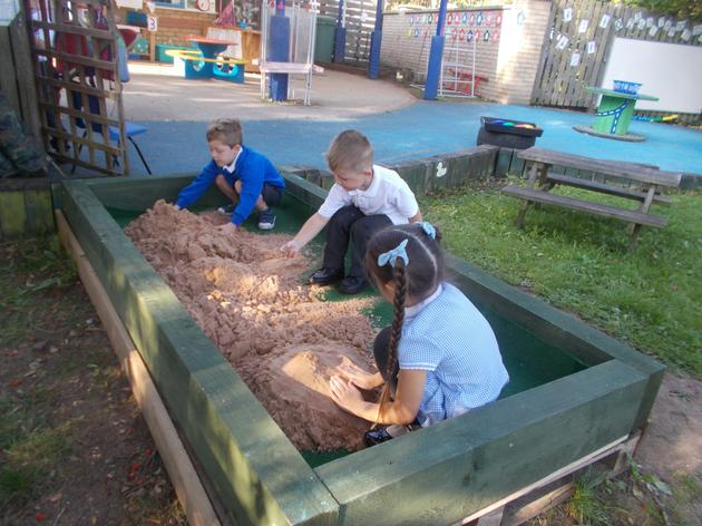 Year R in their new sand pit