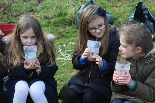 Making and drinking hot chocolate in forest school!