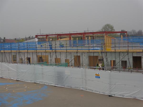 The extension takes shape. April 2014