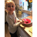 Isabelle followed a set of instructions to make jelly - yummy!