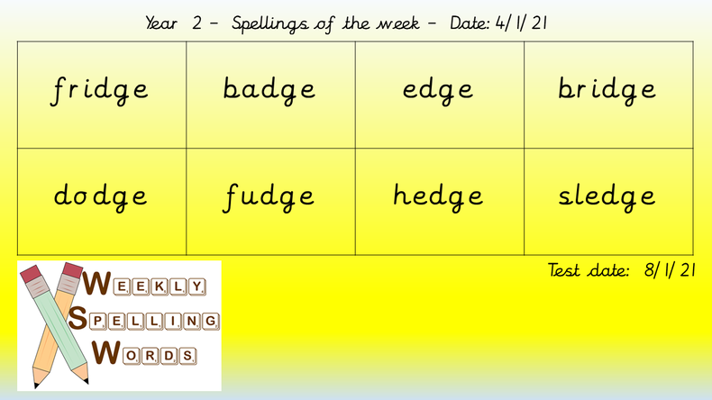 Spellings will be changed each Friday ready for a test on the following Friday.