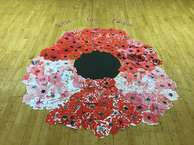 Our completed school poppy with with words Lest We Forget.