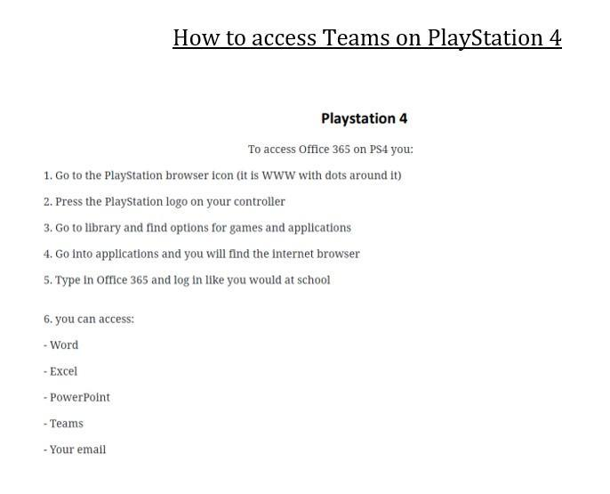 How to view Teams on your Playstation