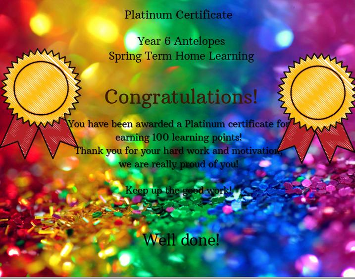 Platinum Certificate