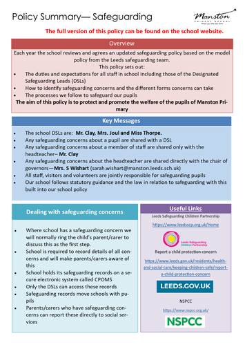 Summary of safeguarding policy