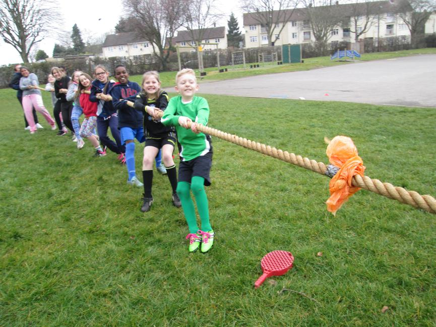 Year 5 and 6 competed in Tug of War!